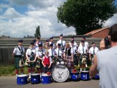 Peterborough Highland Pipe Band play at the carnival in Sawtry