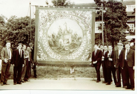 Sawtry Annual Feast Sunday Parade.A Group of Oddfellows with their Banner which led the Parade.