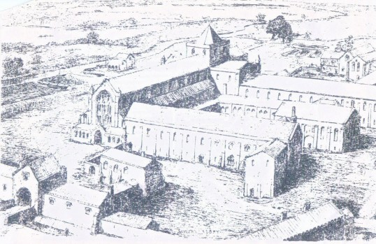 Sketch of Sawtry Abbey, founded 1147 and sacked by Henry VIII's men in 1535.