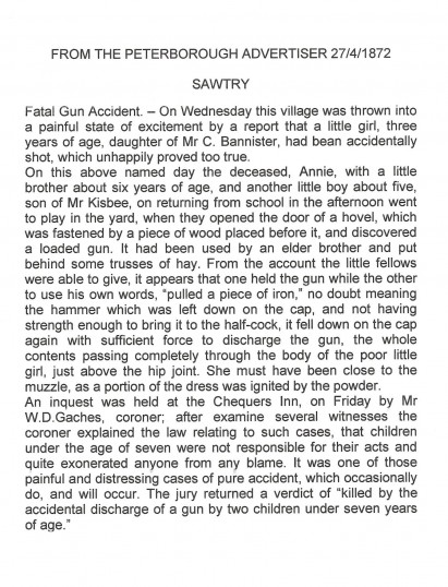 Fatal gun Accident Sawtry. News from the Advertiser.