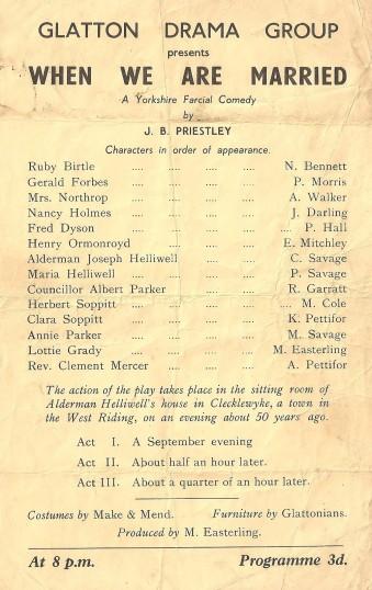 Program of the Glatton Drama Group play
