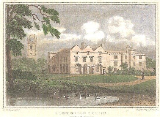 An engraving of Conington Castle by T Barber from a drawing by J P Neale.