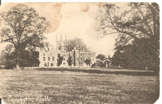 An old postcard of Conington Castle,(The Castle was demolished in 1955)