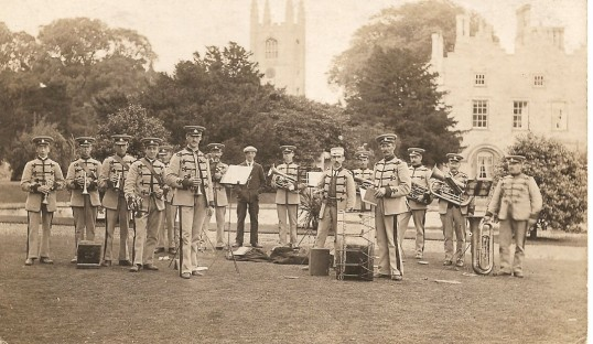 Sawtry Brass Band playing in the grounds of Conington Castle.