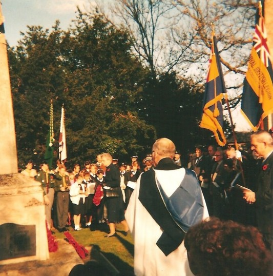 Rememberance Day, Olive Masters laying a Poppy Wreath for the WI at the War Memorial Sawtry
