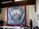 Unfurling of the Oddfellows Banner in preperation for the SHS Open Day in Sawtry To start Feast Week.