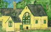 The School Glatton later to become the Church Hall. A painting by Peter Hall from his collection.