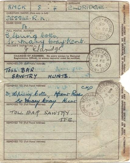World War 2 National Identity Card (inside) belonging to Jessie Eldridge, Sawtry.