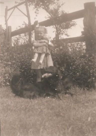 Jenifer Eldridge (now Morgan) with Bruce the dog at no. 1 Toll Bar Sawtry.