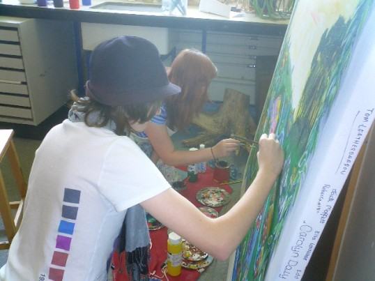 Sawtry College year Nine students creating a mural of the towns history as part of thr CCAN project.
