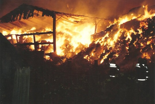Fire in the straw barn at Marshall's Farm Gidding Road, Sawtry.