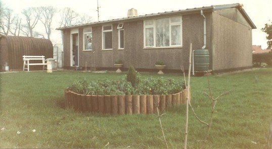 15 Park Road Sawtry,the last prefab standing demolished 1993. (Rear view)