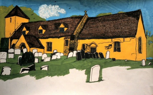 A painting of St. Adrews Church Sawtry. (From an old photograph)