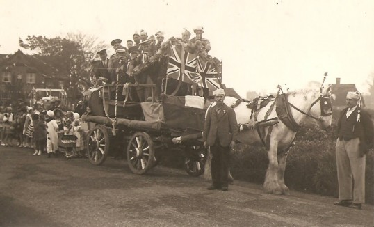 King George 6th Coronation celebrations in Sawtry.(St Judith's Lane, note the Durham Ox to the left.)