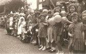 King George 6th Coronation celebrations in Sawtry. (High Street opposite what is now Thomas Morris.)