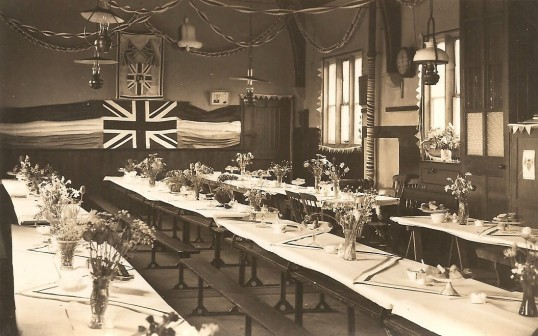King George 6th Coronation celebrations in Sawtry. (Old School Hall before the Party began.)