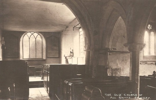 Inside the Old Church of All Saints Sawtry. Before being rebuilt in 1880.