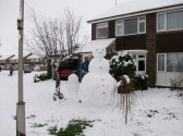 Snow in Sawtry worst in 20 years.(One of the many snowmen roaming the Village.)