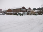 Snow in Sawtry worst in 20 years. (Junction at Westfield Road & Gidding Road.)