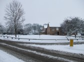 Snow in Sawtry worst in 20 years. (On The Village Greeen looking south.)