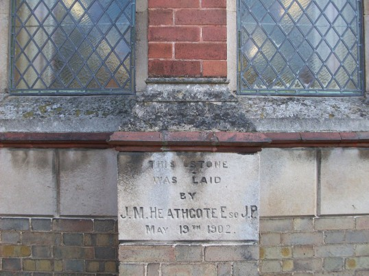 Stone laid by John M Heathcote Esq. J P when building of the Sunday School Weslyan Chapel Sawtry.