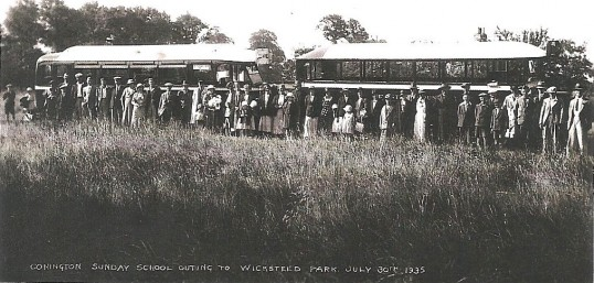 Conington Sunday School Outing to Wicksteed Park Kettering N'thants. Note the Charabancs.