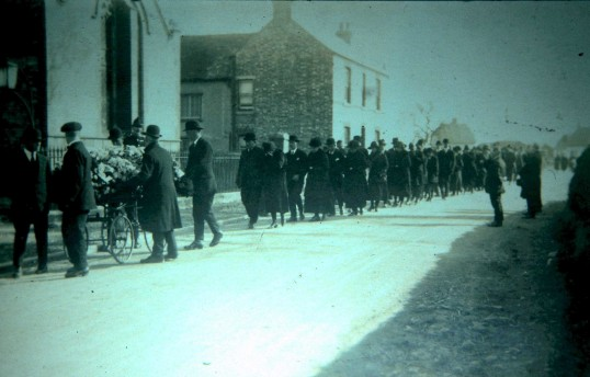 Funeral of Ernest Barnard at the Weslyan Church Sawtry.Who was killed in a motor accident near Oundle 20 Mar 1926.. Ernest Barnard