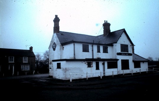 The Royal Oak Public House Sawtry with Blackhorse Farm in background before it's demolition.