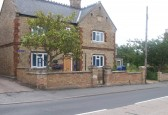 Last view of the wall in front of the Old School House Sawtry, before taken down for rebuilding.