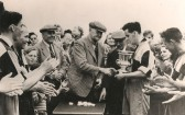 Sawtry Sports Club winners Hunts League Div 2 1948-1949. Roy Jackson receiving the Cup.