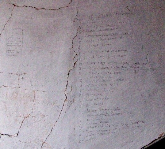 Writings on the walls in the attic at Woolpack Farm Conington.Made by Betty Toulmin (nee Sanders) Click the 'Text Show button.. Writings on the Walls