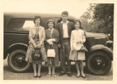 The Milford family at Infield Road Glatton, before they moved to Sawtry. (With Harry's beloved car)