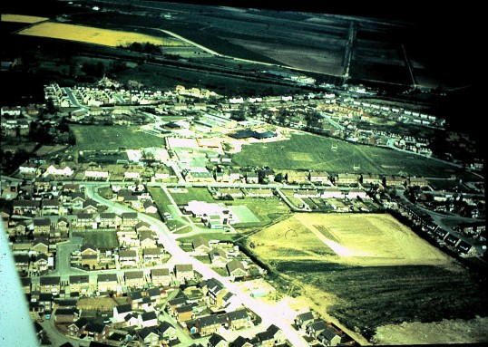 Aerial view of Middlefield Road & Junior School Sawtry.