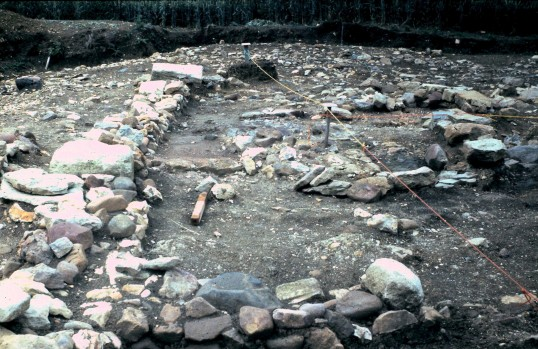 St. Judith's Archeological Dig Sawtry.(Wall looking West from East end)
