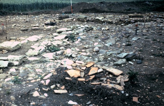 St. Judith's Archeological Dig Sawtry.(North end of South West wall with heap of Tiles.)