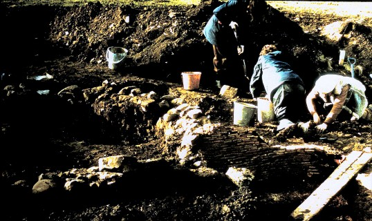 St. Judith's Archeological Dig Sawtry.(Working at the Dig.)