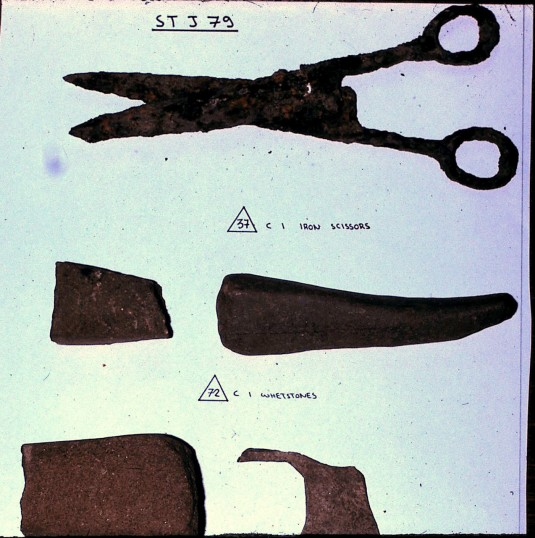 St. Judith's Archeological Dig Sawtry.(Iron Scissors & Whetstones found on site.)