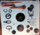 St. Judith's Archeological Dig Sawtry.(Nail, Buckles & Coins found on site.)