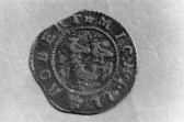 St. Judith's Archaeological Dig Sawtry. (Reverse of half penny coin found on site.)