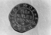 St. Judith's Archaeological Dig Sawtry. (Half penny coin dted 1667 found  on site.)