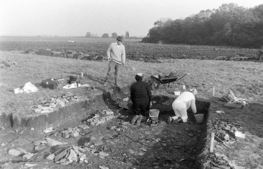 St. Judith's Archaeological Dig Sawtry.(Volunteers on the siteview looking South East.)