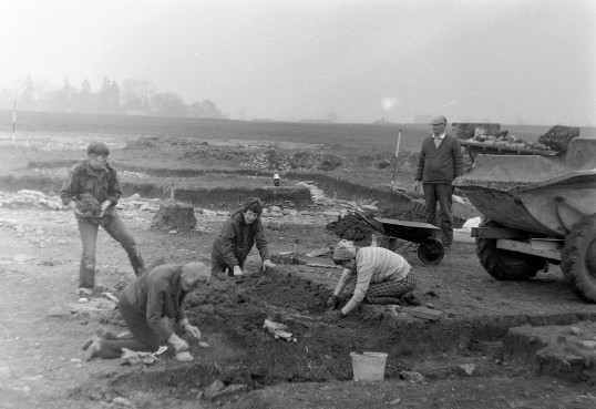 St. Judith's Archaeological Dig Sawtry. (Volunteers on the site.)
