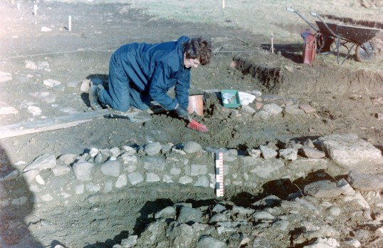 St. Judith's Archaeological Dig Sawtry.(Volunteer working on site.)