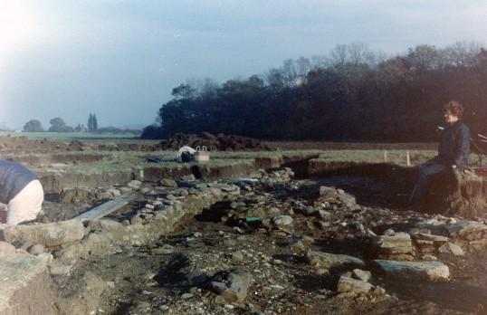 St. Judith's Archaeological Dig Sawtry.(Volunteers back from tea break.)