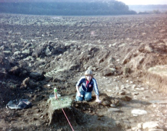 St. Judith's Archaeological Dig Sawtry.(Young volunteer on the site.)