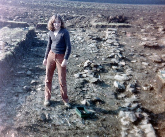 St. Judith's Archaeological Dig Sawtry.(A volunteer standing along side one of the walls.)