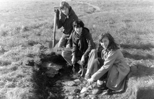 St. Judith's Archaeological Dig Sawtry.(Three young helpers on the site.)