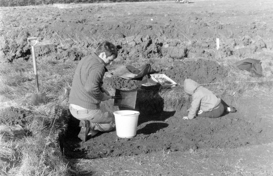 St. Judith's Archaeological Dig Sawtry.(Looks like father and son.)