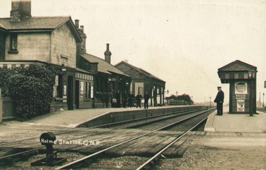 Railway Station Holme. Holme Village c1910