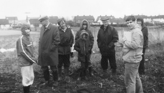 First ever field walk in Sawtry by the Archaeological Society.. First field walk